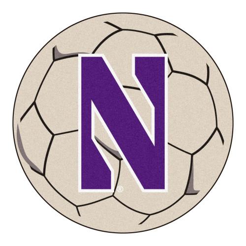 "27"" Gray and Blue NCAA Northwestern University Demons Soccer Ball Mat - IMAGE 1"