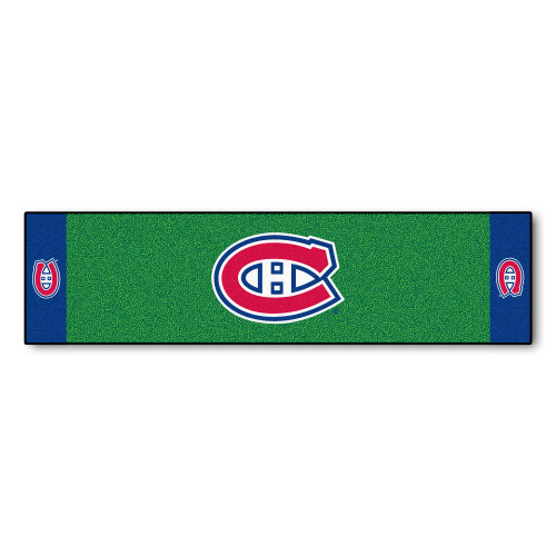 """18"""" x 72"""" Green and Blue NHL Montreal Canadiens Putting Mat Golf Accessory - IMAGE 1"""