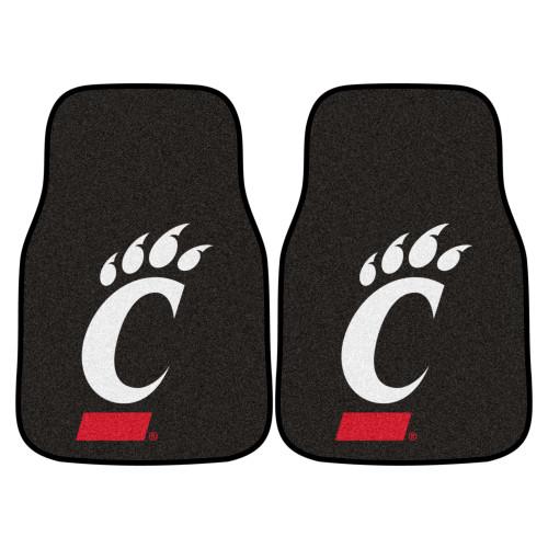 "Set of 2 Black and White NCAA University of Cincinnati Bearcats Carpet Car Mats 17"" x 27"" - IMAGE 1"