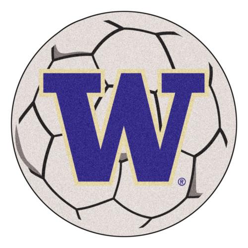 "27"" White and Purple NCAA University of Washington Huskies Soccer Ball Shaped Mat - IMAGE 1"