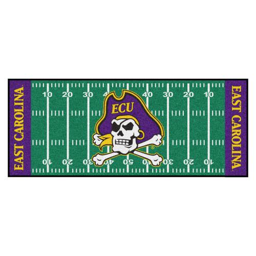 2.5' x 6' Green and Blue NCAA East Carolina University Pirates Football Field Mat Area Rug Runner - IMAGE 1