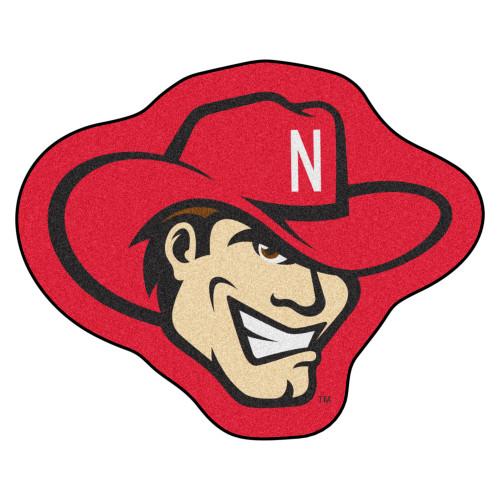 "30"" x 37"" Red and Beige NCAA University of Nebraska Blackshirts Cornhuskers Logo Shaped Door Mat - IMAGE 1"
