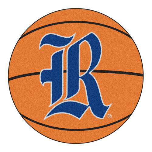 "27"" Orange and Gray NCAA Rice University Owls Basketball Shaped Mat Area Rug - IMAGE 1"