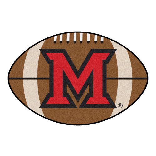 """20.5"""" x 32.5"""" Brown and Red NCAA Miami University Redhawks Football Mat - IMAGE 1"""