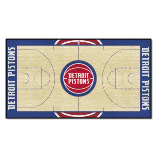 "24"" x 44"" Beige and Blue NBA Detroit Pistons Court Rug Runner - IMAGE 1"