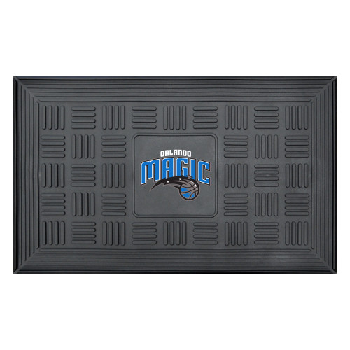 "19.5"" x 31.25"" Black NBA Orlando Magic Icon with Wordmark 3-D Team Medallion Doormat - IMAGE 1"