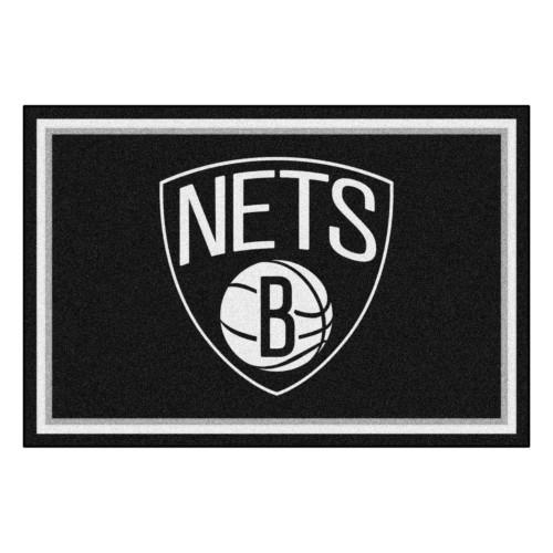 4.9' x 7.3' Black and White NBA Brooklyn Nets Plush Area Rug - IMAGE 1