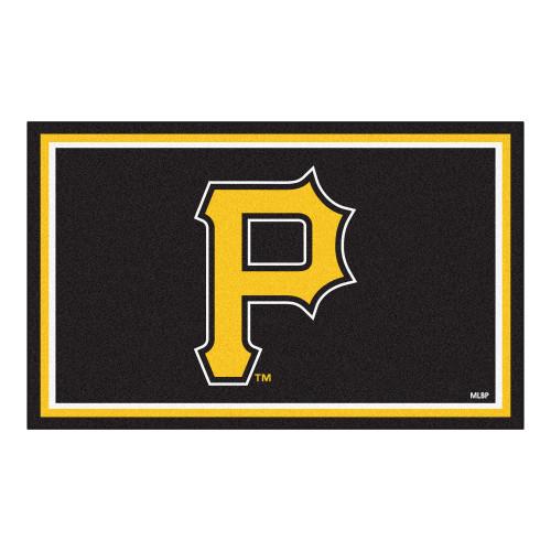 3.6' x 5.9' Black and Yellow MLB Pittsburgh Pirates Plush Area Rug - IMAGE 1