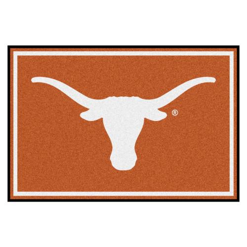 4.9' x 7.3' Orange and White NCAA University of Texas Longhorns Plush Non-Skid Area Rug - IMAGE 1