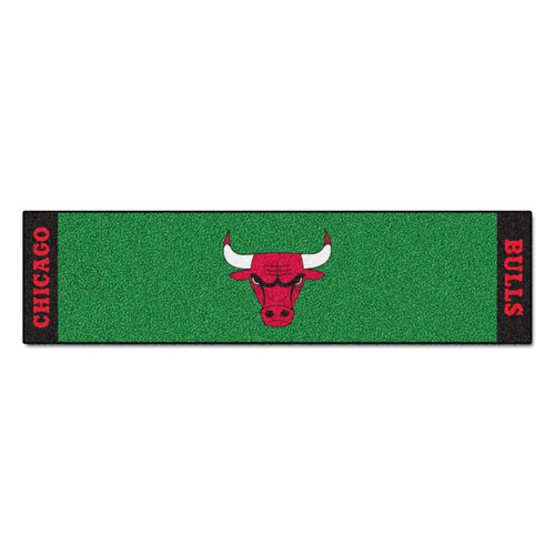 """18"""" x 72"""" Green and Red NBA Chicago Bulls Putting Green Golf Mat - IMAGE 1"""