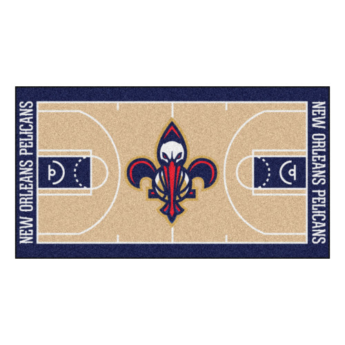 """24"""" x 44"""" Beige and Blue NBA New Orleans Pelicans Court Rug Runner - IMAGE 1"""