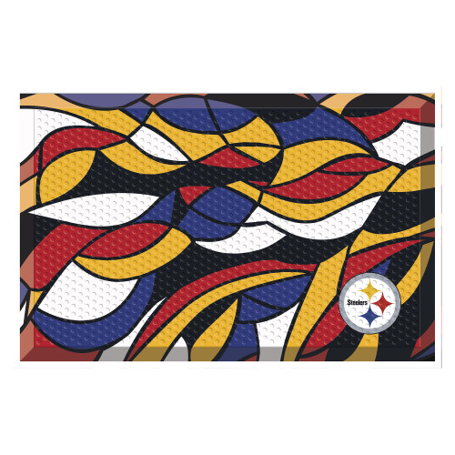 """19"""" x 30"""" Vibrantly Colored Contemporary NFL Pittsburgh Steelers Shoe Scraper Doormat - IMAGE 1"""