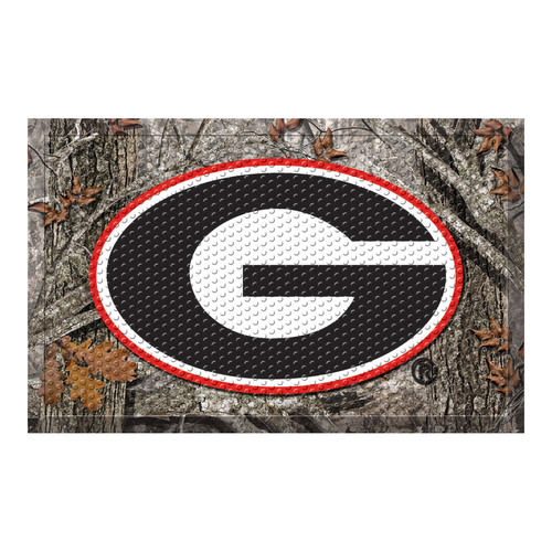 "19"" x 30"" Gray and Black NCAA University of Georgia Bulldogs Scraper Rectangular Door Mat - IMAGE 1"
