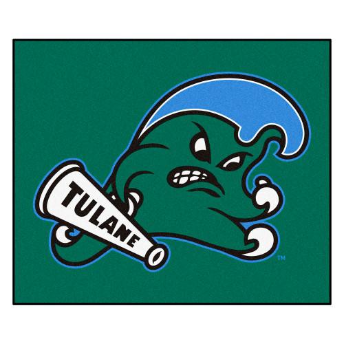 """59.5"""" x 71"""" Green Wave NCAA Tulane University Tailgater Mat Rectangular Outdoor Area Rug - IMAGE 1"""