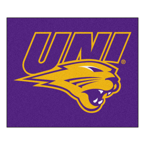 """59.5"""" x 71"""" Purple and Yellow NCAA University of Northern Iowa Panthers Tailgater Area Rug - IMAGE 1"""