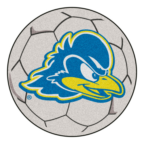 """27"""" Gray and Blue NCAA University of Delaware Fightin' Blue Hens Soccer Ball Shaped Area Rug - IMAGE 1"""