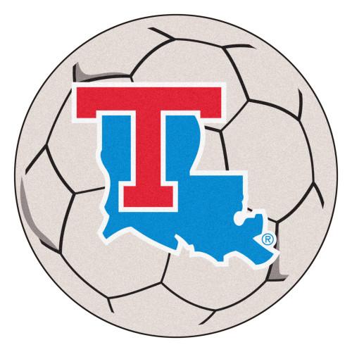 "27"" Gray and Blue NCAA Louisiana Tech University Tigers Soccer Ball Mat Round Area Rug - IMAGE 1"