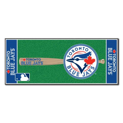 "30"" x 72"" Blue and Green MLB Toronto Blue Jays Non-Skid Baseball Mat Area Rug Runner - IMAGE 1"