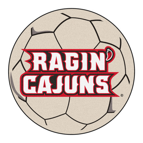 "27"" Black and Red NCAA University of Louisiana-Lafayette Ragin' Cajuns Soccer Ball Mat Area Rug - IMAGE 1"