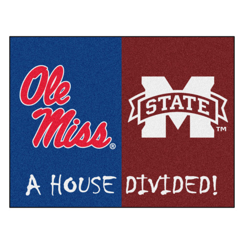 """33.75"""" x 42.5"""" Blue and Red NCAA Ole Miss Rebels - Mississippi State Bulldogs House Divided Mat - IMAGE 1"""