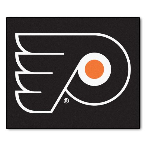 5' x 6' Black and White NHL Philadelphia Flyers Tailgater Mat Rectangular Outdoor Area Rug - IMAGE 1