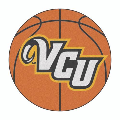 "27"" Brown and White NCAA Virginia Commonwealth University Rams Basketball Mat Area Rug - IMAGE 1"