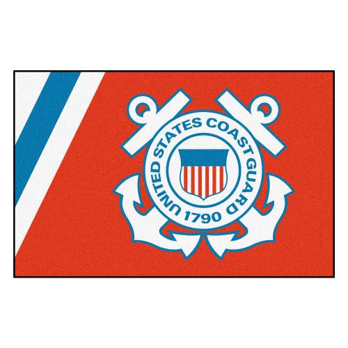 "19"" x 30"" Orange and White U.S. Coast Guard Starter Rectangular Mat - IMAGE 1"