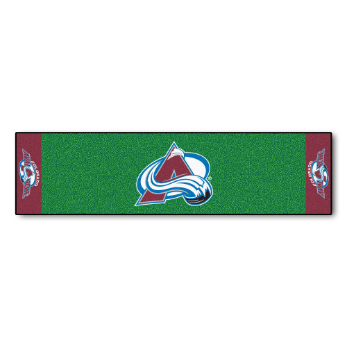 """18"""" x 72"""" Green and Brown NHL Colorado Avalanche Putting Mat Golf Accessory - IMAGE 1"""