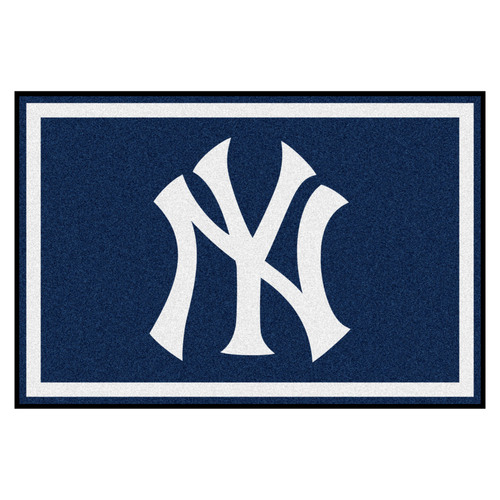 4.9' x 7.3' Blue and White MLB New York Yankees Rectangular Area Rug - IMAGE 1