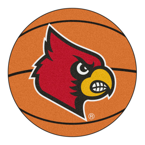 """27"""" Orange and Red NCAA University of Louisville Cardinals Basketball Shaped Mat Area Rug - IMAGE 1"""
