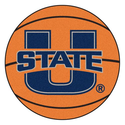 "27"" Orange and Blue NCAA Utah State University Aggies Basketball Shaped Mat Area Rug - IMAGE 1"