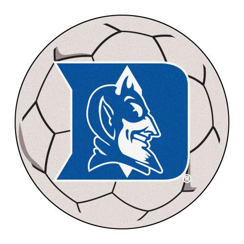 "27"" White and Blue NCAA Duke University Blue Devils Soccer Ball Shaped Area Rug - IMAGE 1"