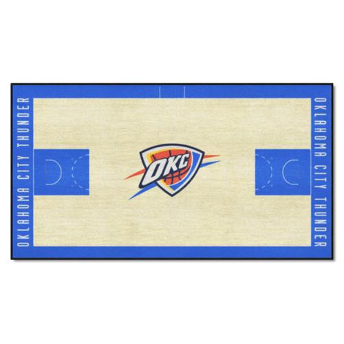 2.4' x 4.5' Blue and White NBA Oklahoma City Thunder Basketball Court Mat Area Throw Rug Runner - IMAGE 1