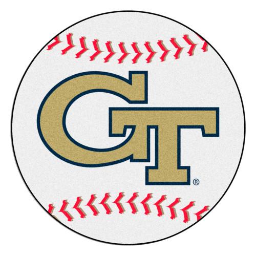 "27"" White and Red NCAA Georgia Tech Yellow Jackets Ramblin Wreck Baseball Round Door Mat - IMAGE 1"