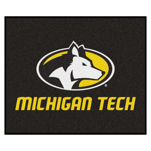 "59.5"" x 71"" Black and Yellow NCAA Michigan Tech University Huskies Rectangular Outdoor Area Rug - IMAGE 1"