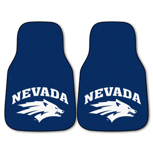 """Set of 2 Blue and White NCAA University of Nevada Wolf Pack Carpet Car Mats 17"""" x 27"""" - IMAGE 1"""