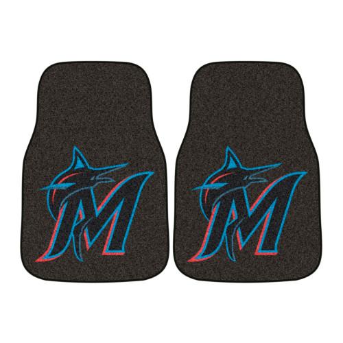 "Set of 2 Black and Blue MLB Miami Marlins Carpet Car Mats 17"" x 27"" - IMAGE 1"
