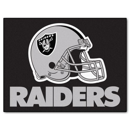 "33.75"" x 42.5"" Black and Gray NFL Oakland Raiders Rectangular Mat - IMAGE 1"