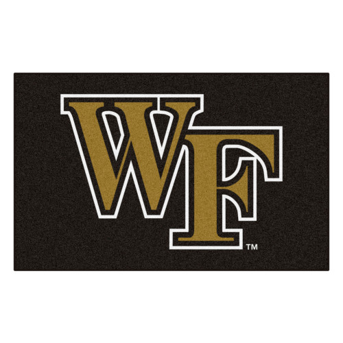 """59.5"""" x 94.5"""" Black and Brown NCAA Wake Forest University Demon Deacons Ulti-Mat Area Rug - IMAGE 1"""