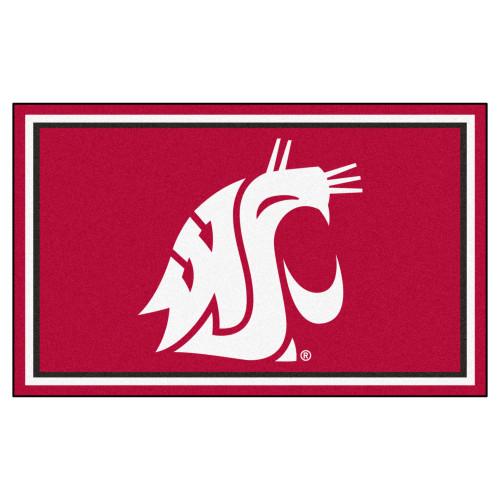 3.6' x 5.9' Red NCAA Washington State University Cougars Plush Area Rug - IMAGE 1
