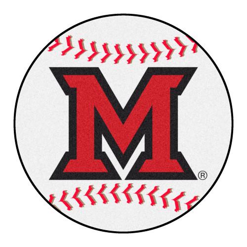 NCAA Miami University (OH) Redhawks Baseball Shaped Mat Round Area Rug - IMAGE 1
