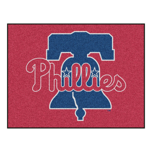 """33.75"""" x 42.5"""" Red and Blue MLB Philadelphia Phillies Rectangular All-Star Mat Outdoor Area Rug - IMAGE 1"""