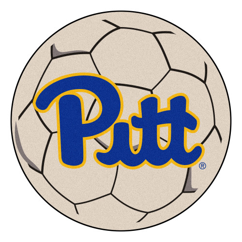 """27"""" White and Blue NCAA University of Pittsburgh Panthers Soccer Ball Door Mat - IMAGE 1"""