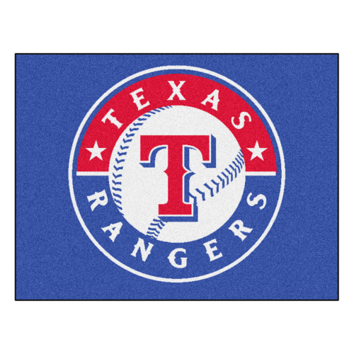 """33.75"""" x 42.5"""" Blue and Red MLB Texas Rangers Rectangular All-Star Mat Outdoor Area Rug - IMAGE 1"""