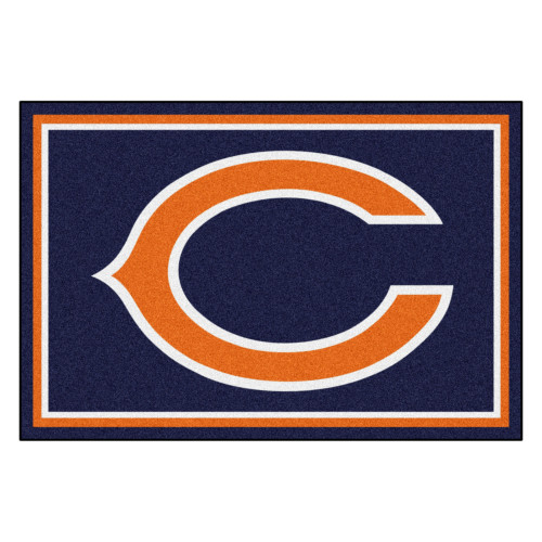 """59.5"""" x 88"""" Blue and Orange NFL Chicago Bears Non-Skid Area Rug - IMAGE 1"""