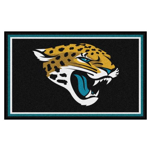 3.6' x 5.9' Black and White NFL Jacksonville Jaguars Ultra Plush Rectangular Area Rug - IMAGE 1