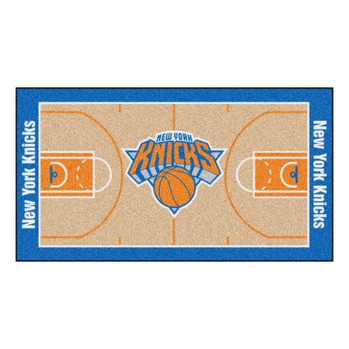 2.4' x 4.5' Blue and Orange NBA New York Knicks Basketball Court Mat Area Throw Rug Runner - IMAGE 1