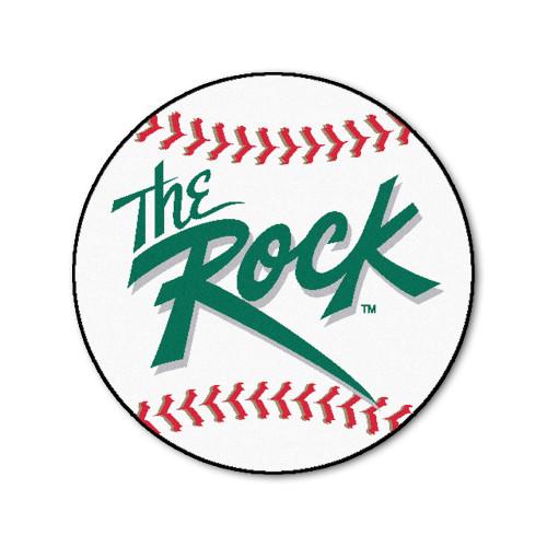 "27"" White and Green NCAA Slippery Rock University The Rock Baseball Area Rug - IMAGE 1"