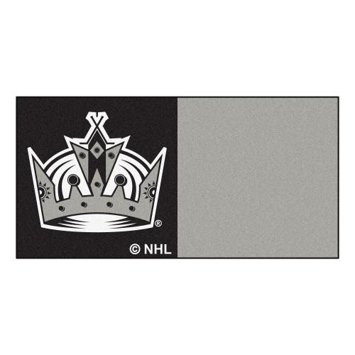 "20pc Gray and black NHL Los Angeles Kings Team Carpet Tile Flooring Squares 18"" x 18"" - IMAGE 1"