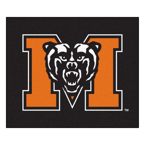"""59.5"""" x 71"""" Black and Orange NCAA Mercer University The Thundering Herd Tailgater Mat Area Rug - IMAGE 1"""